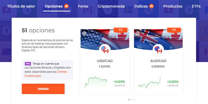 Operaciones disponibles en IQ Option